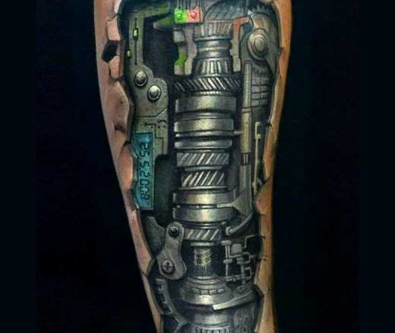 Black biomechanical tattoo on forearm