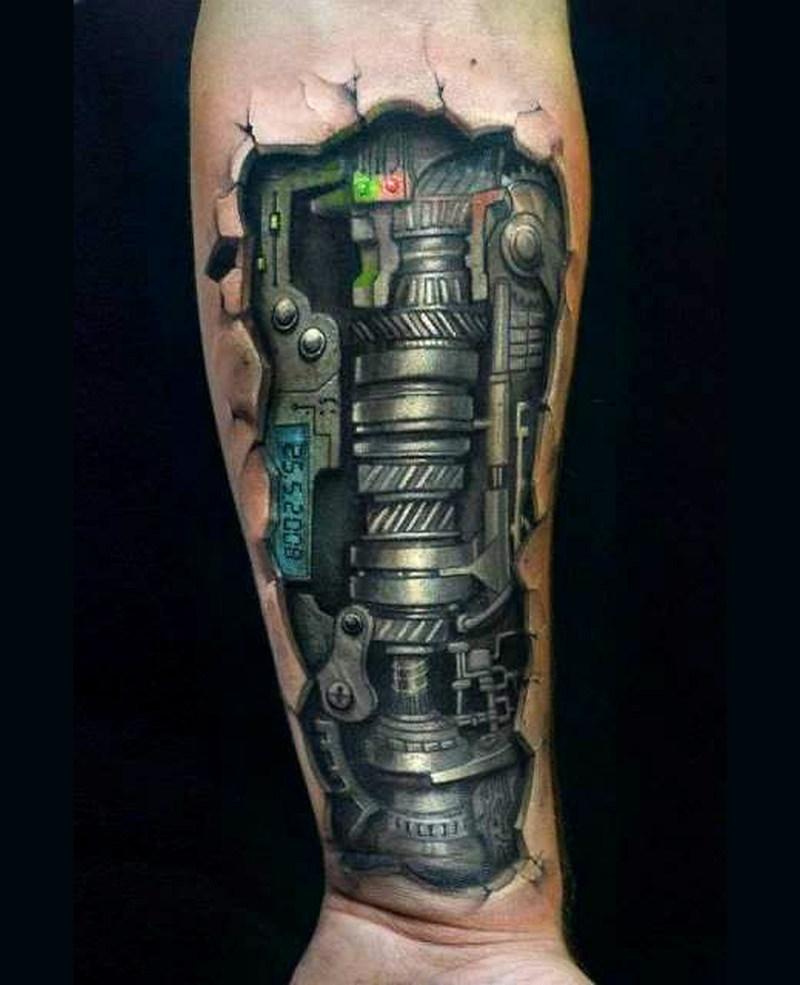 Black biomechanical tattoo on forearm