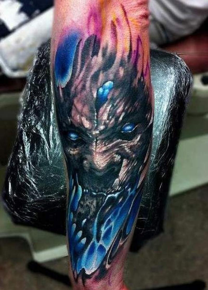 52e92eeb9 Black blue demon tattoo on forearm - Tattoos Book - 65.000 Tattoos ...