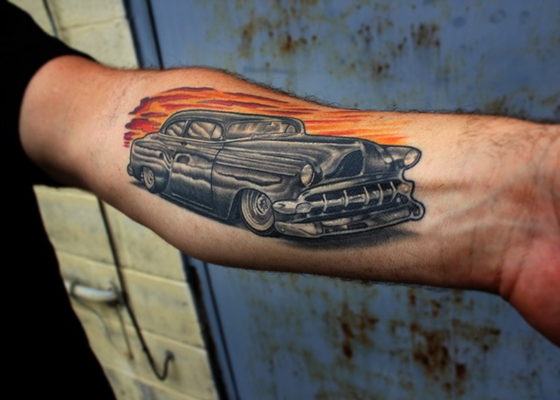 Black car tattoo on forearm 2