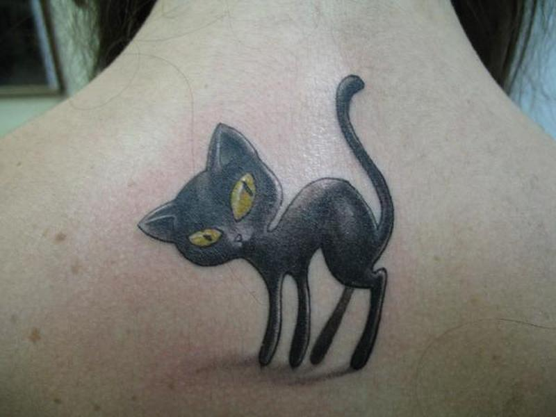 Black cat tattoo on upper back 2