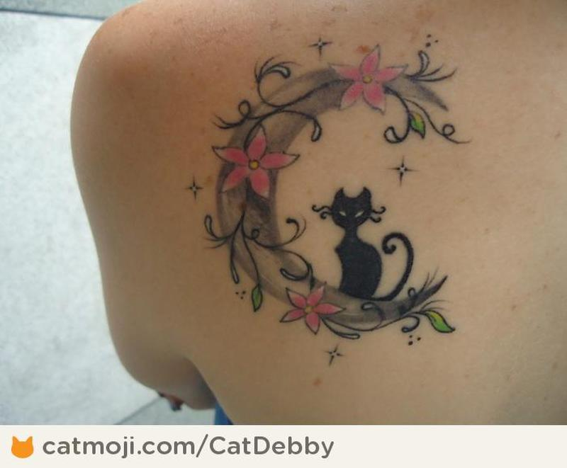 black cat with moon tattoo design tattoos book. Black Bedroom Furniture Sets. Home Design Ideas