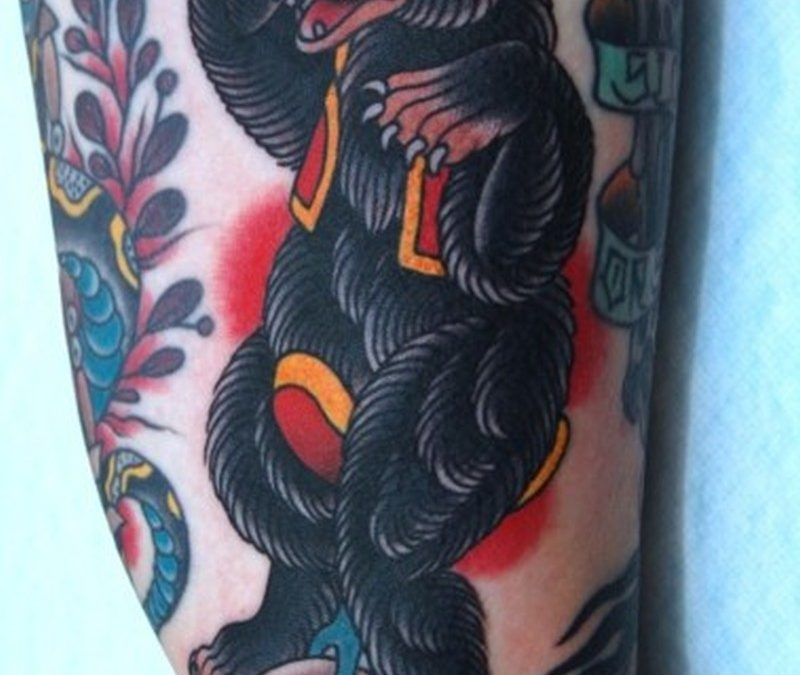 Black circus bear tattoo design