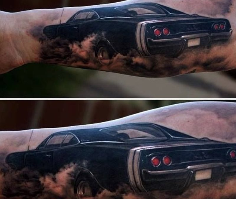 Black classic car tattoo design