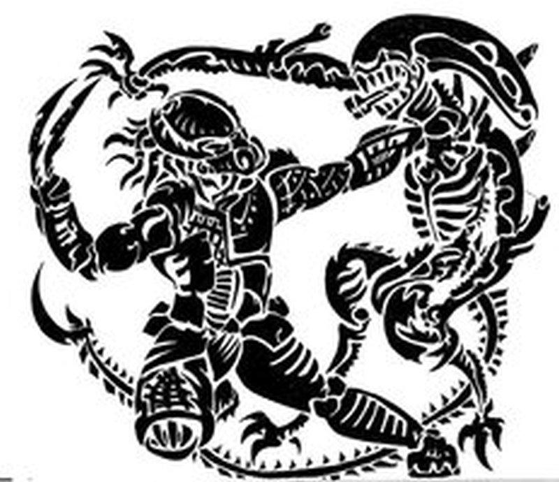 Black color alien vs predator tattoo