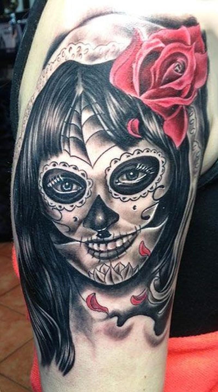 Black creepy santa muerte girl with red rose tattoo for Black girl tattoos