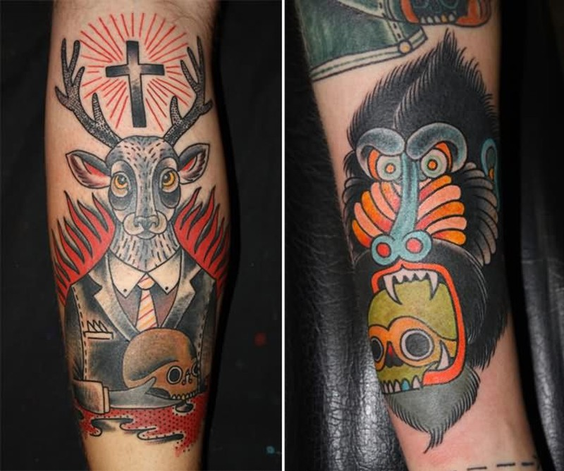 Black deer n cross tattoo