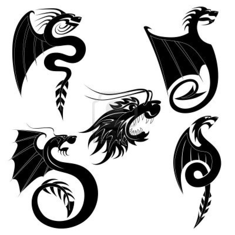 Black dragon tattoo design set