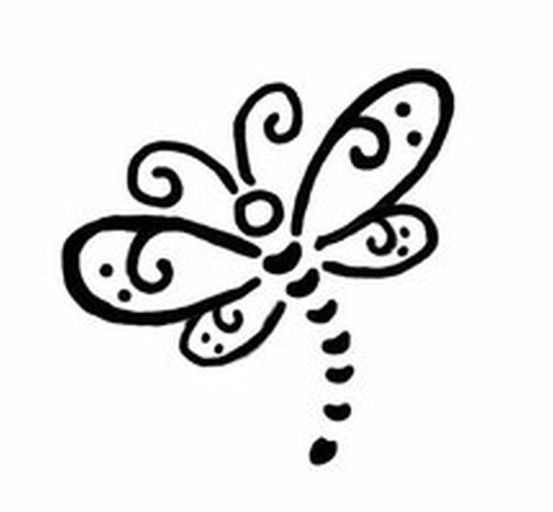 Black dragonfly tattoo sample