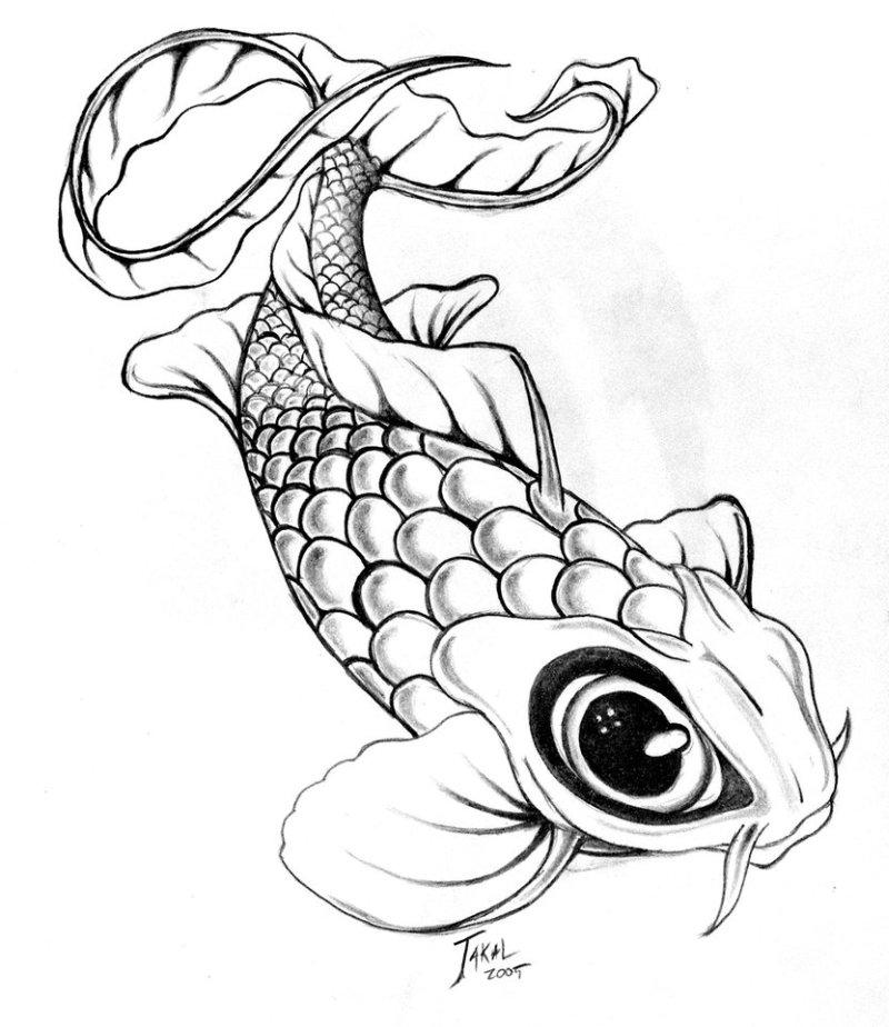 Black eye fish tattoo design