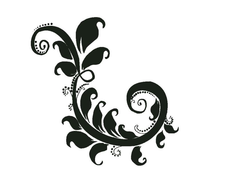 Black floral tattoo sample