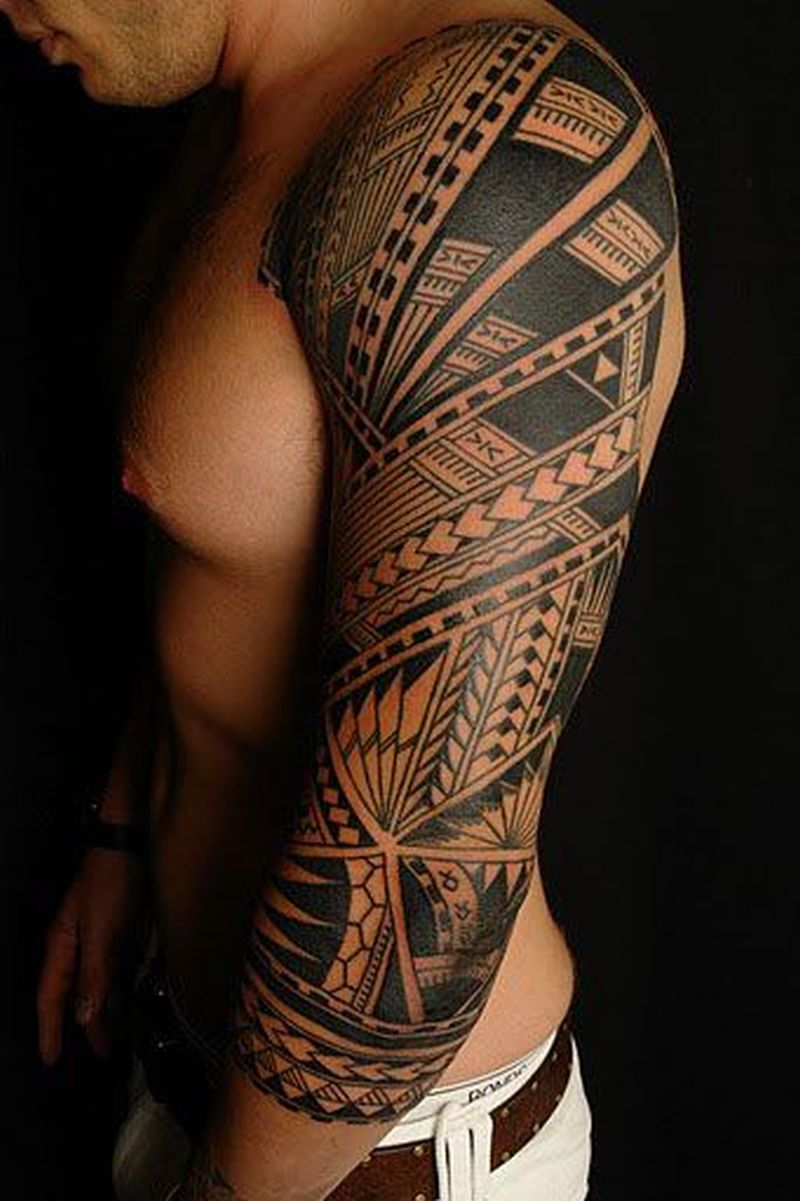 Black full sleeve tattoo