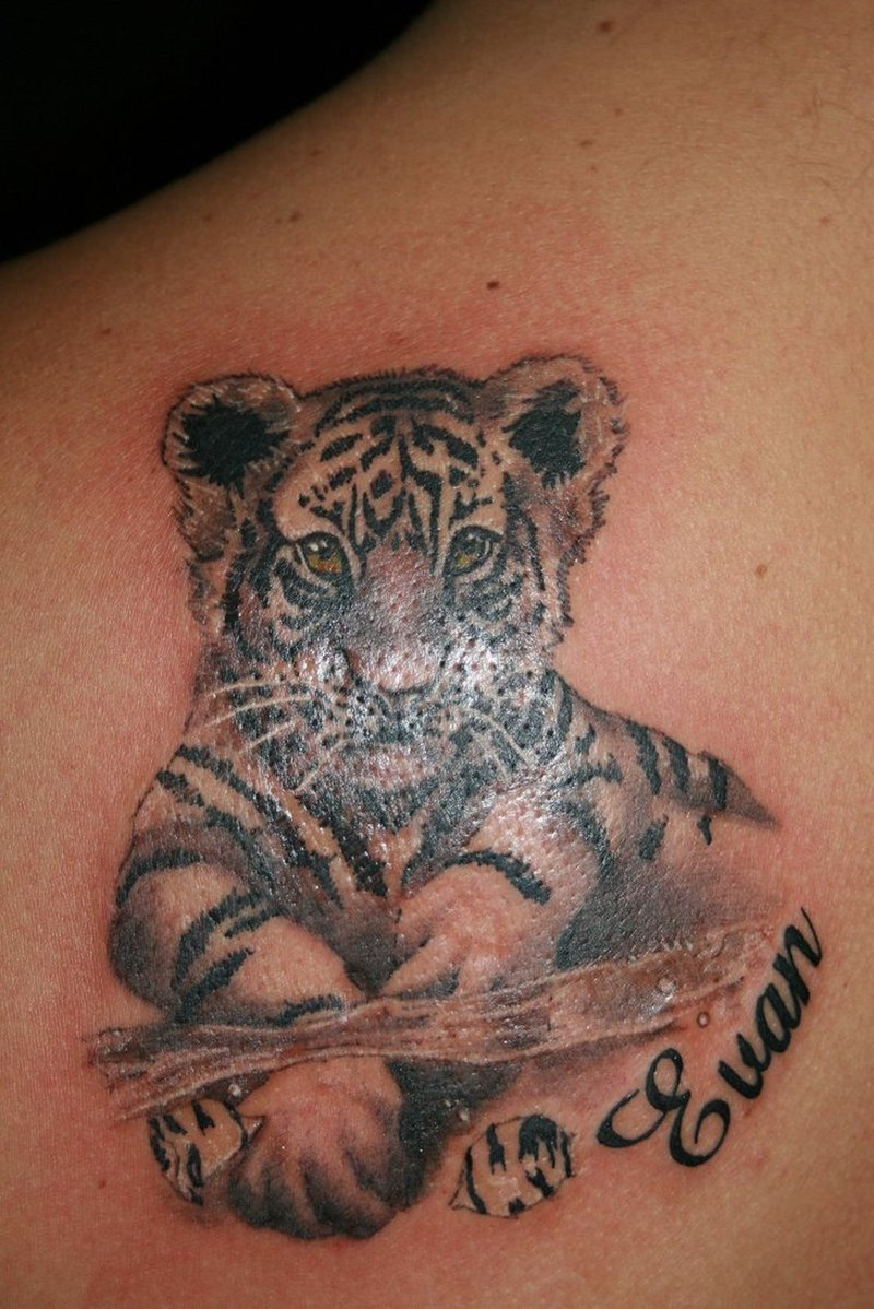 Black grey baby tiger tattoo design