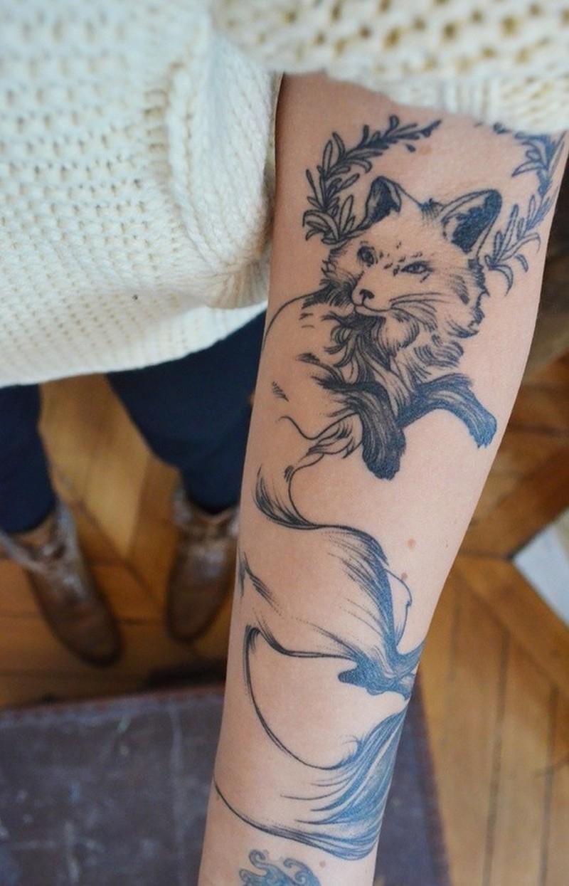 20559e4c938ac Black grey lines fox forearm tattoo - Tattoos Book - 65.000 Tattoos ...
