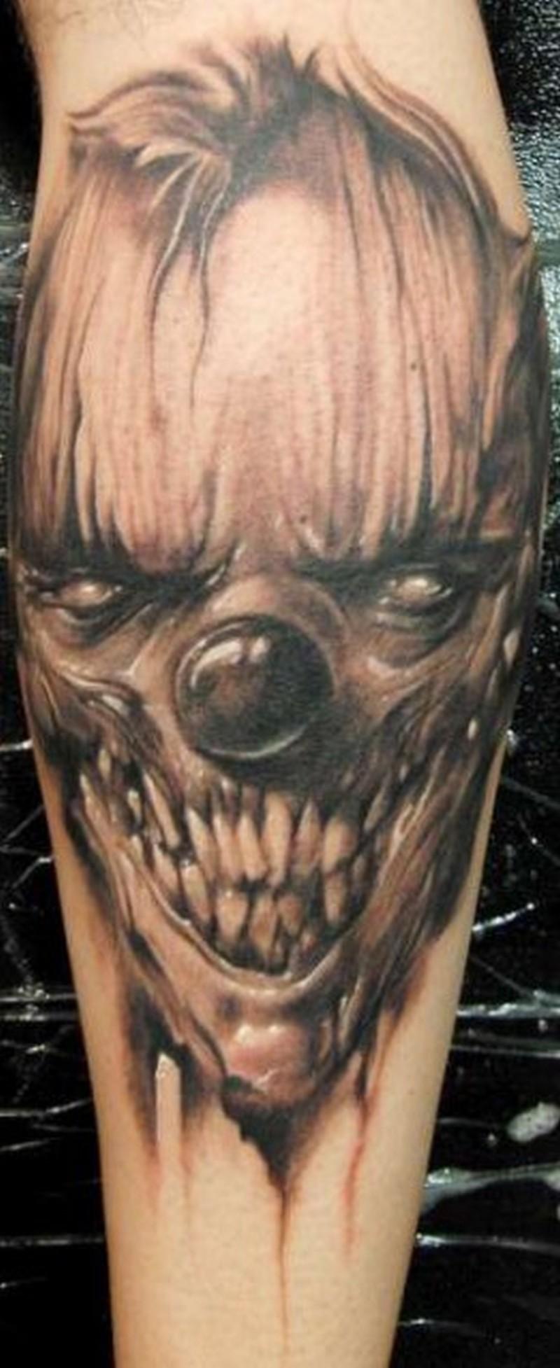 Black grey spooky clown tattoo