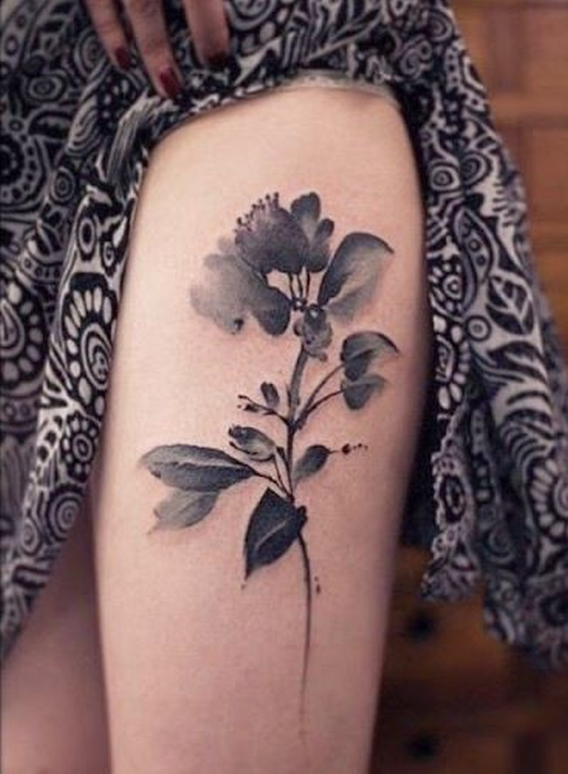 black grey watercolor flower tattoo on thigh for women tattoos book tattoos designs. Black Bedroom Furniture Sets. Home Design Ideas