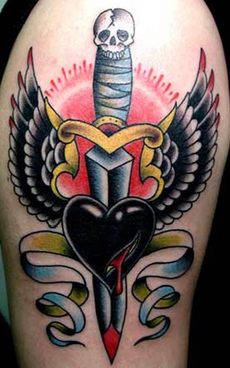 Black heart dagger tattoo design