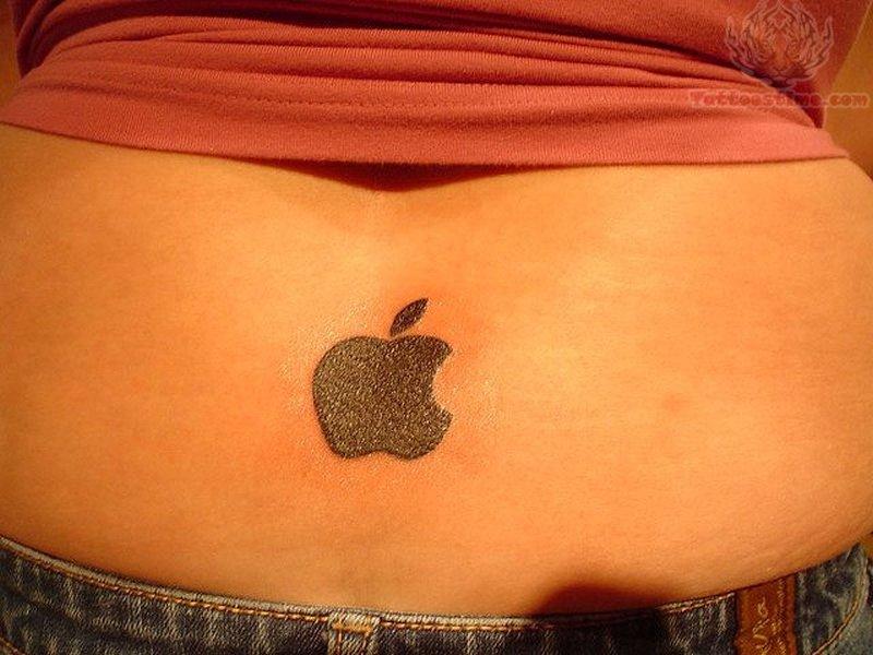 Black ink apple logo tattoo on lower back
