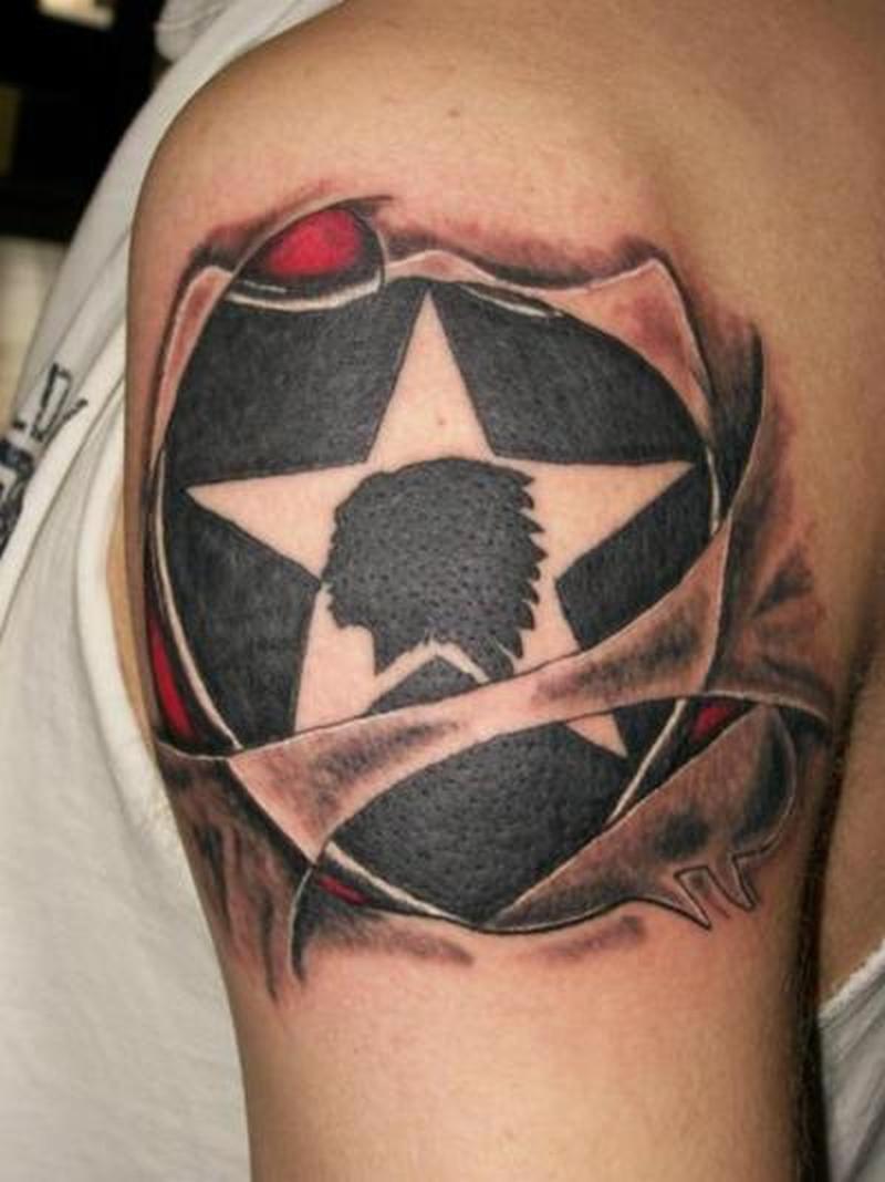 black ink army tattoo design on shoulder tattoos book. Black Bedroom Furniture Sets. Home Design Ideas