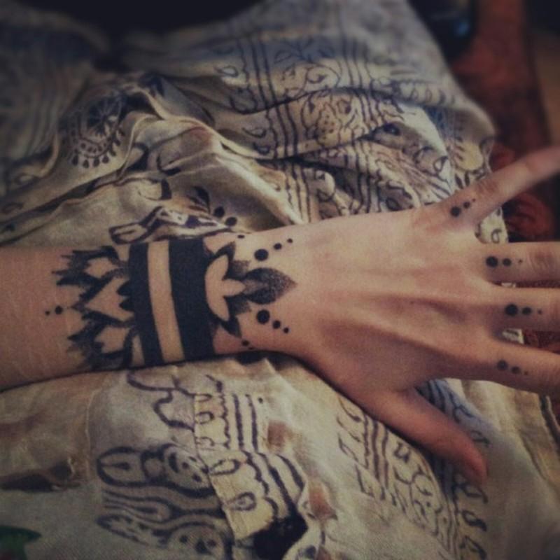 53b21ae4a Black ink bracelet wrist tattoo by Grace Neutral - Tattoos Book ...