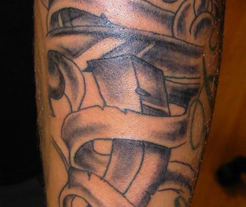 Black ink dagger tattoo design