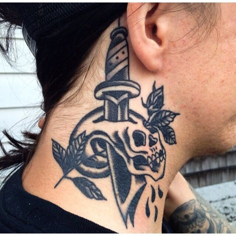 Black ink dagger with skull tattoo on neck