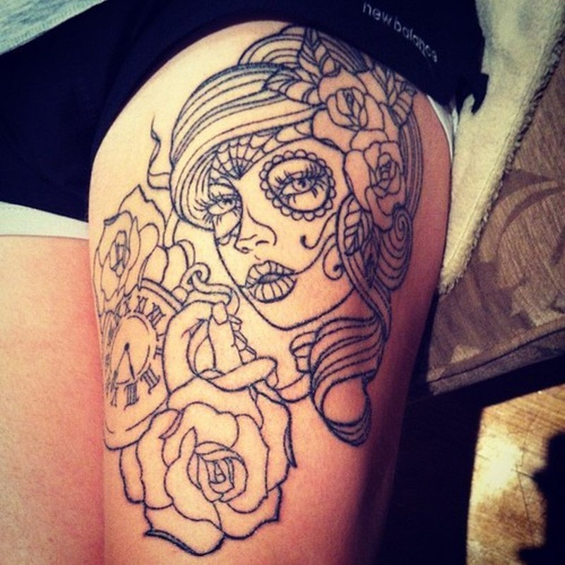 Black lines dia de los muertos tattoo on thigh - Tattoos Book ...