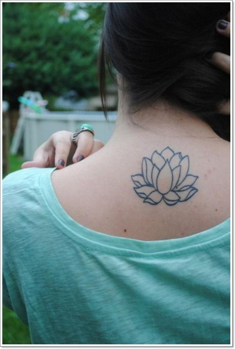 Black lines lotus flower tattoo on back tattoos book 65000 black lines lotus flower tattoo on back izmirmasajfo