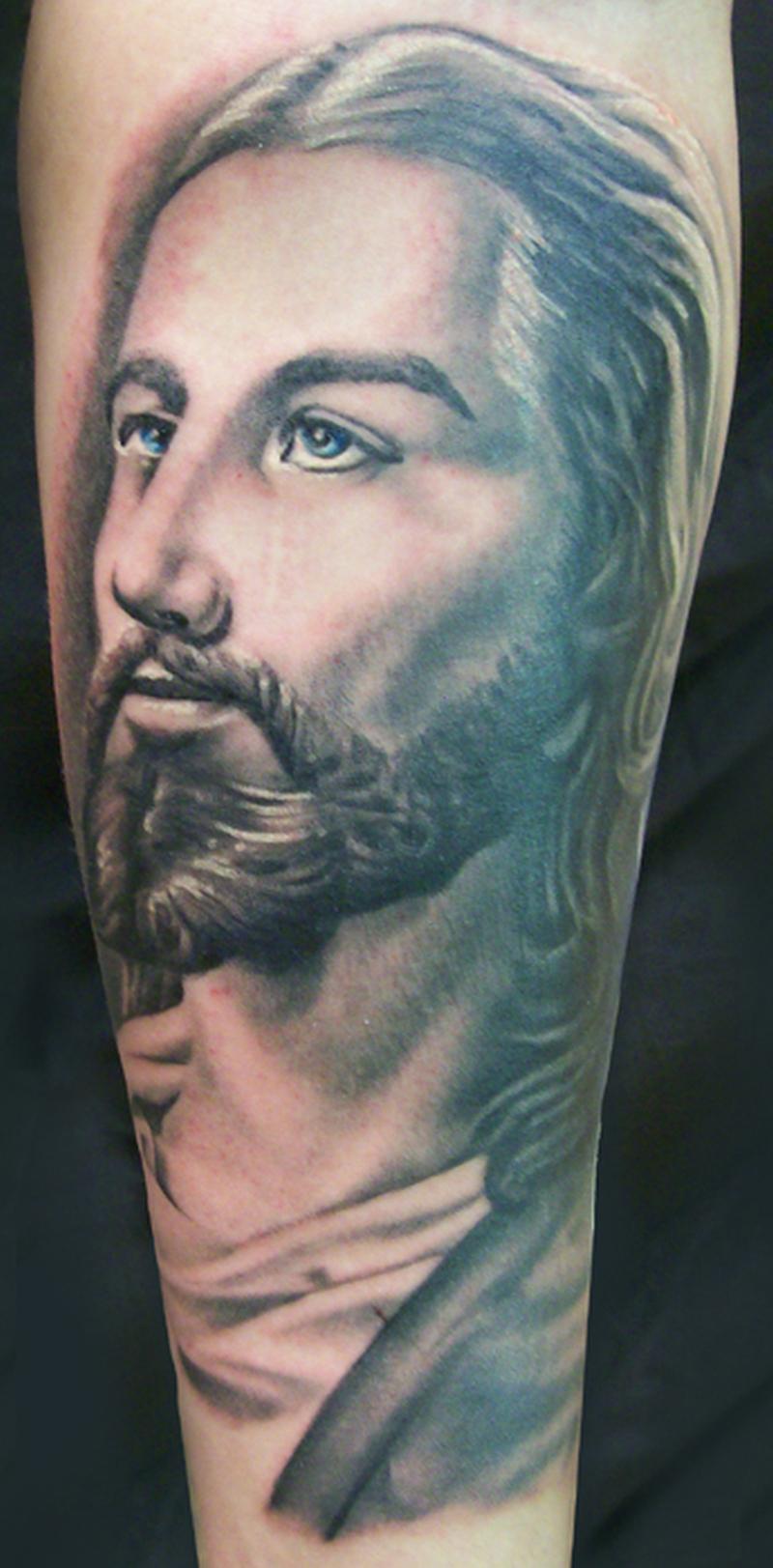 Black n grey ink jesus portrait tattoo design tattoos for Tattoos of black jesus