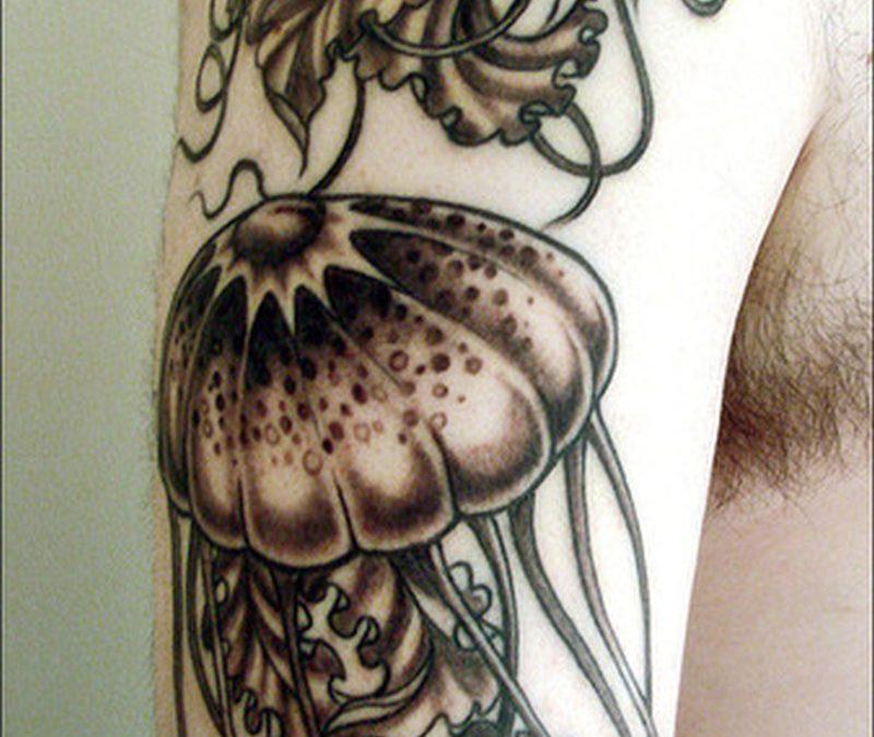 Black n grey jelly fish tattoo design