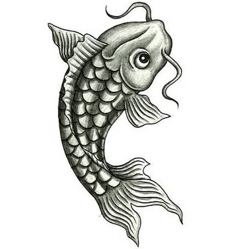 Black n grey koi fish tattoo sample