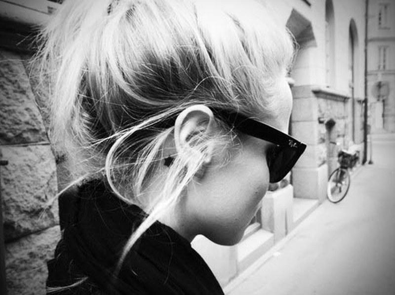 Black n white back ear tattoo design