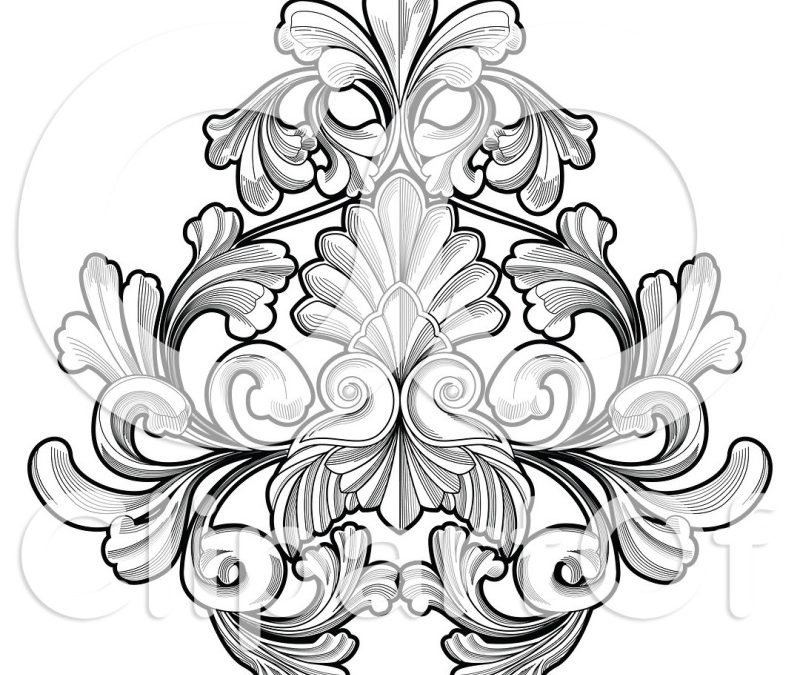 Black n white floral tattoo design