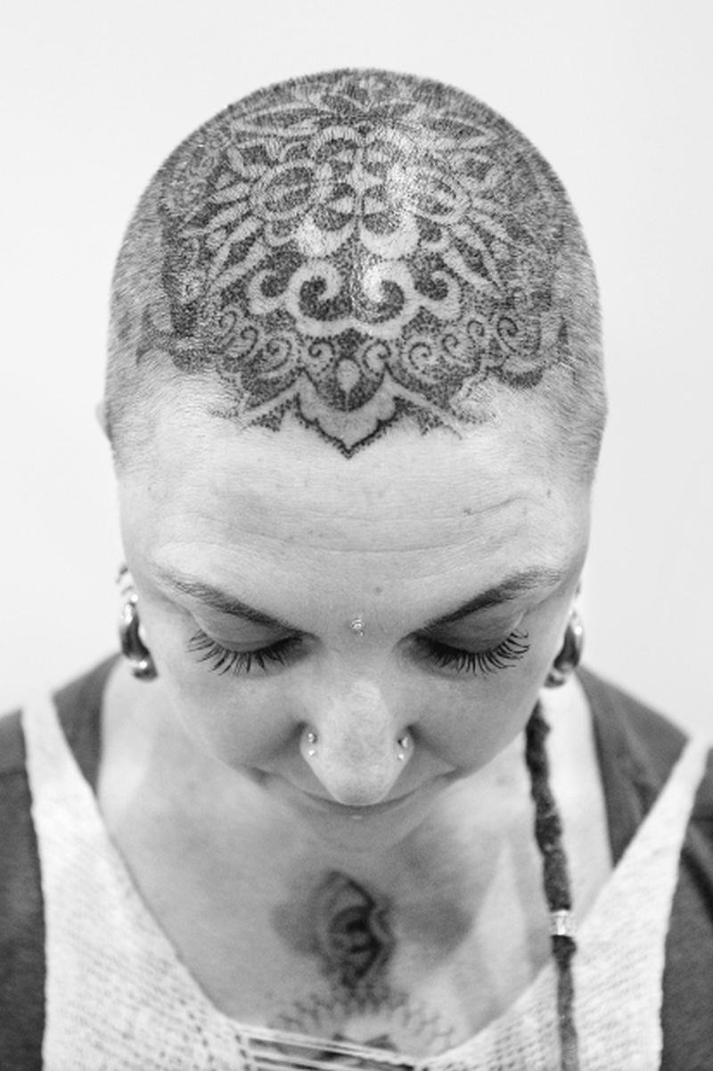 Black n white head tattoo art