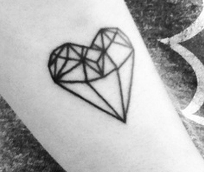 Black n white heart diamond tattoo design