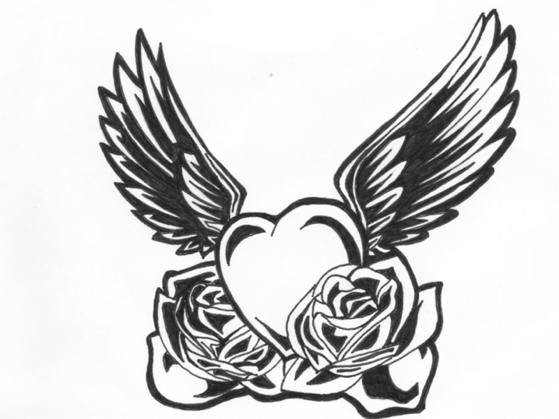 Black n white heart wings tattoo design