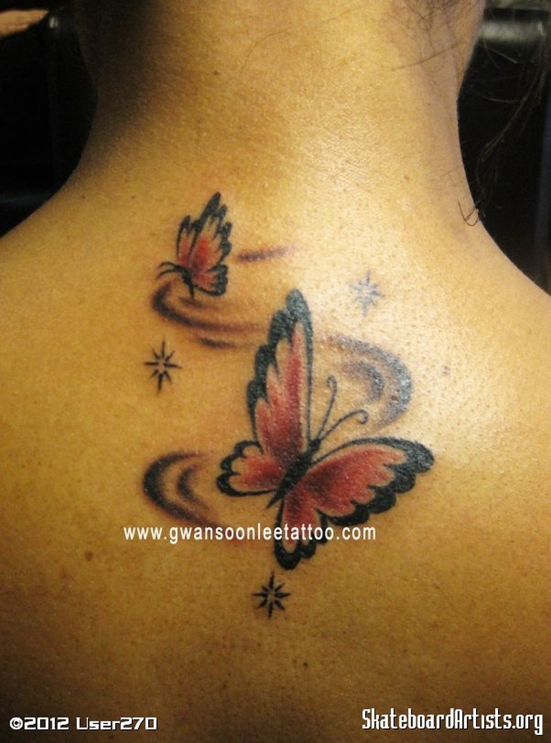 Black red butterfly tattoo design
