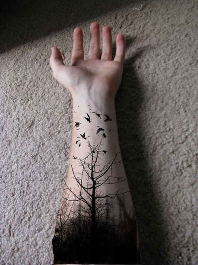 Black tree forearm tattoo design for men - Tattoos Book - 65.000 ...