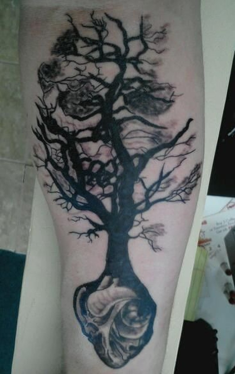 black tree grown from heart tattoo on arm tattoos book tattoos designs. Black Bedroom Furniture Sets. Home Design Ideas