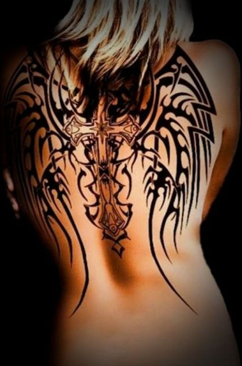 Black tribal tattoo for women