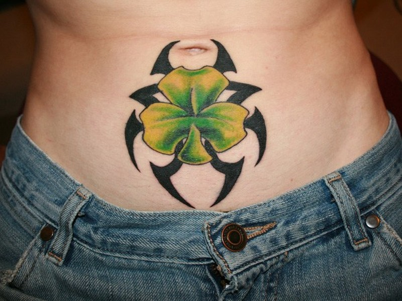 black tribal with clover on stomach tattoos book