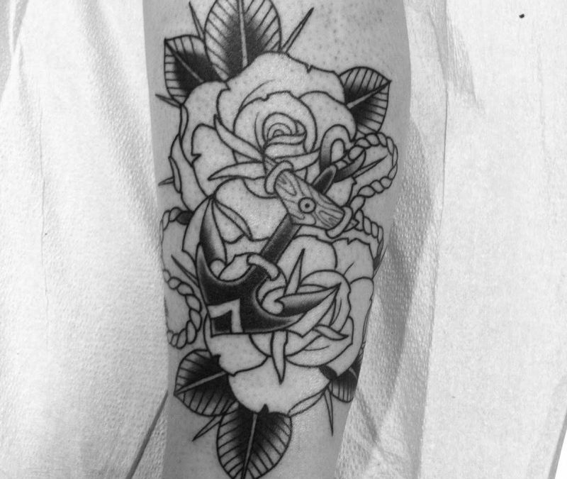 Black white anchor symbol tattoo design