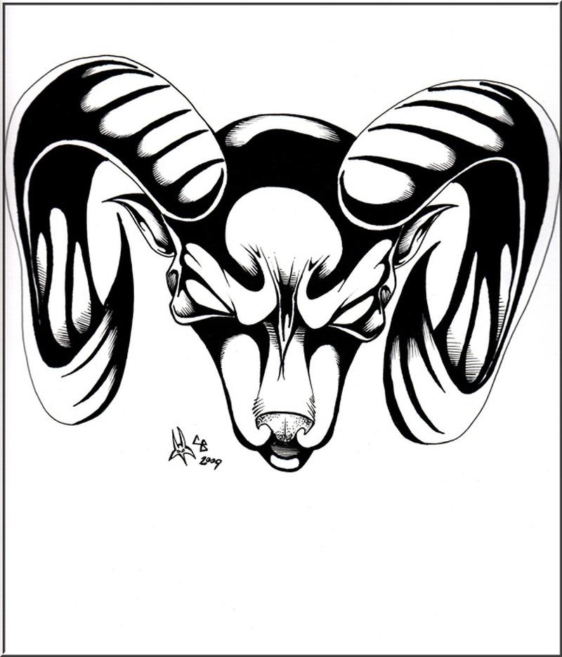Black white aries head tattoo design