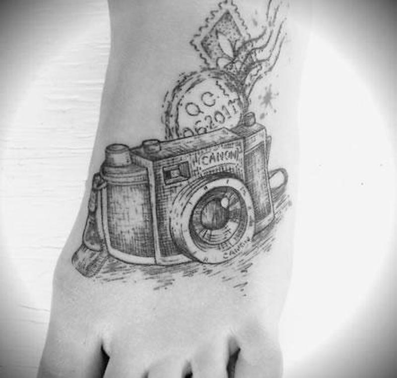 8c714acbd Black white camera tattoo on foot - Tattoos Book - 65.000 Tattoos ...