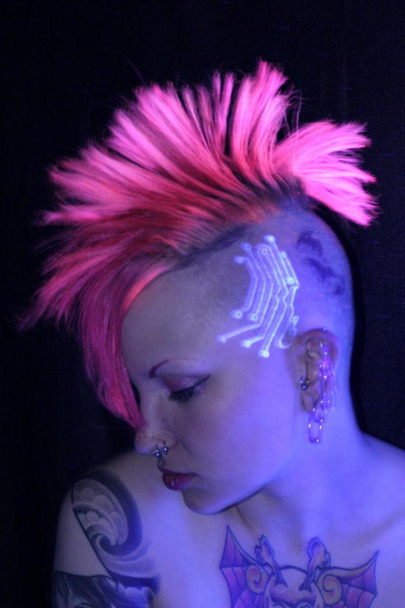 Blacklight head tattoo design