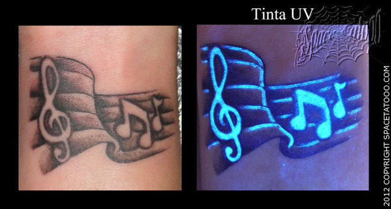 Blacklight music notes tattoo image
