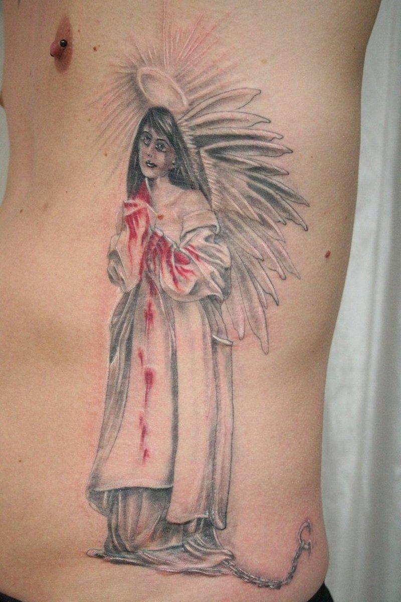 Bleeding angel girl tattoo design