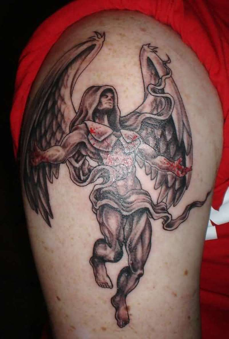 Bleeding angel tattoo design