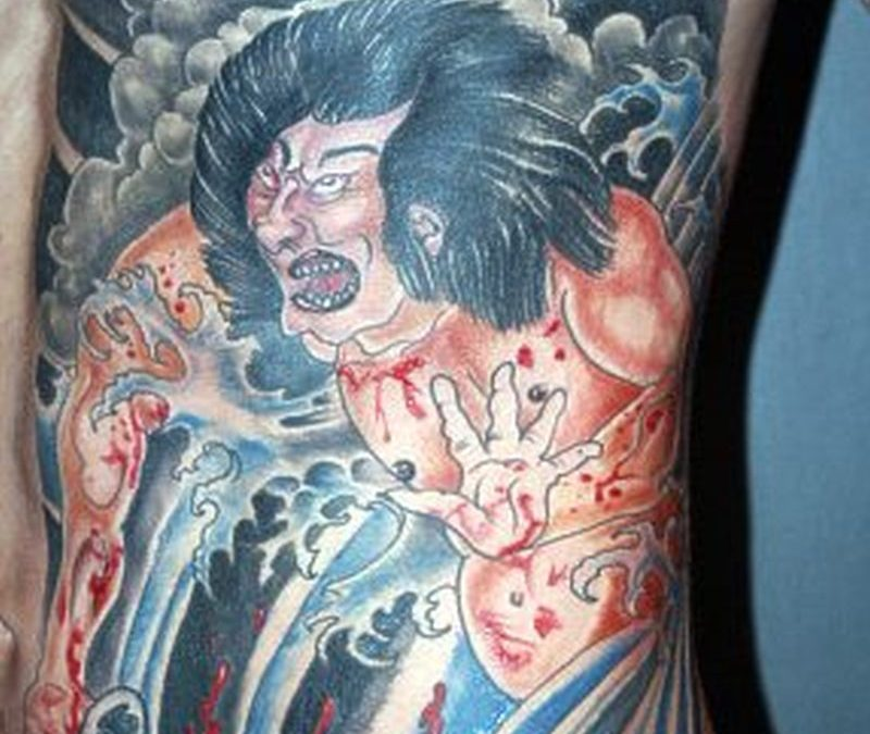 Bleeding asian tattoo design