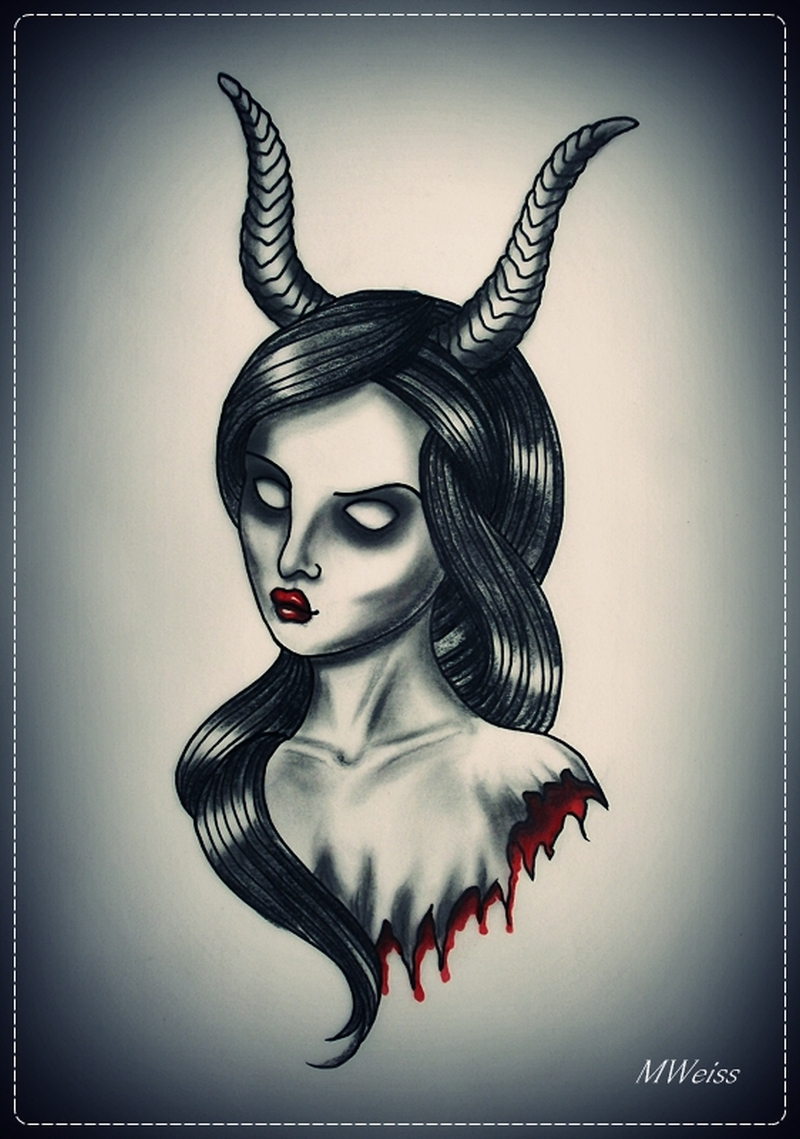 Bleeding devil girl tattoo flash